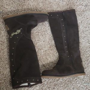 Ed Hardy suede brown boots sz 7